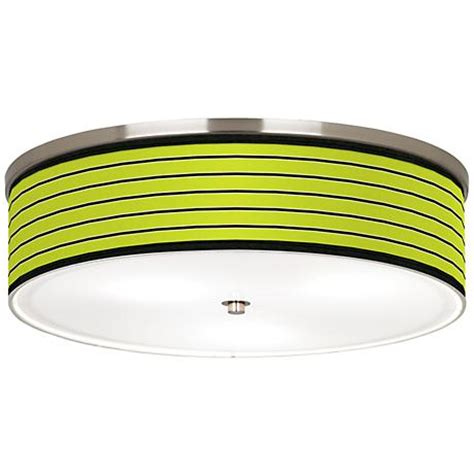 bold lime green stripe nickel 20 1 4 quot wide ceiling light