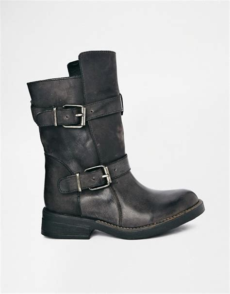 steve madden steve madden buckle caveat leather ankle boots