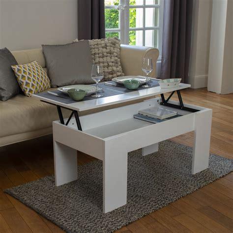 Table Basse Blanche 851 by Table Basse Avec Plateau Relevable Bois Blanc Ebay