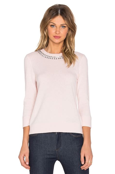Embellished Sweater lyst kate spade new york embellished necklace sweater in