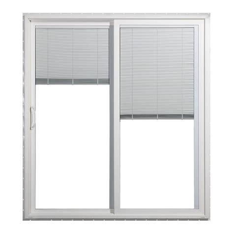 Sliding Patio Door Blinds Jeld Wen 72 In X 80 In Premium White Vinyl Left Lite Sliding Patio Door W Blinds