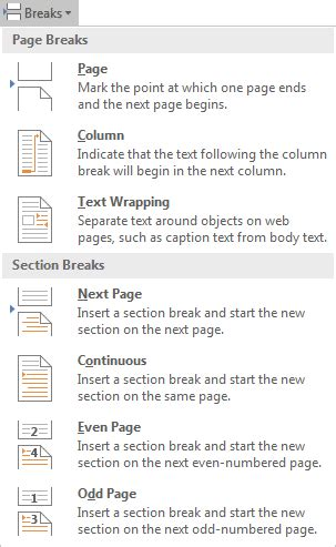 page layout menu in ms word 2010 microsoft word 2007 to word 2016 tutorials page breaks