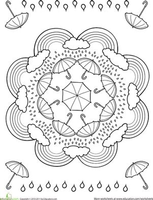 rainbow mandala coloring pages rainy day worksheet education