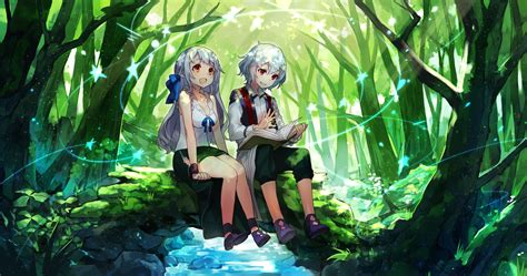 wallpaper anime twins download 1600x842 anime twins girl and boy forest