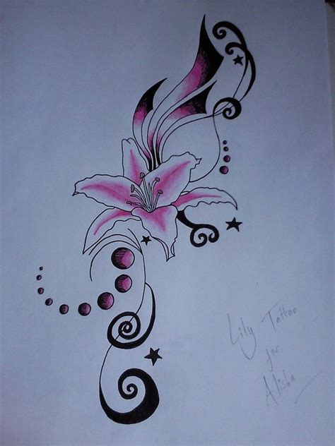 lily swirl tattoo designs pink by jess wood on deviantart