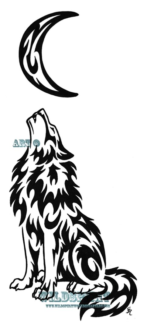 lonely wolf and moon tattoo by wildspiritwolf on deviantart