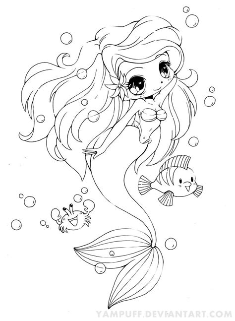 coloring page baby mermaid ariel the little mermaid chibi by yampuff on