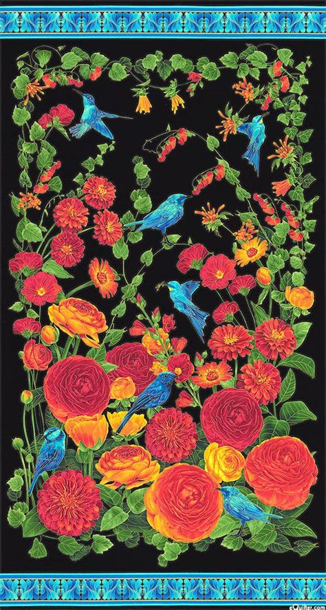 arcadia bluebirds ranunculus    panel quilt