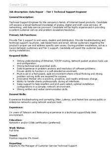 Job description data repair tier 1 technical support engineer