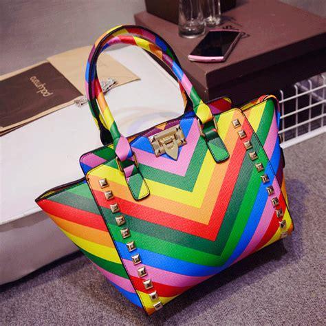 colorful handbags 2015 new handbags colorful rainbow bag fashion