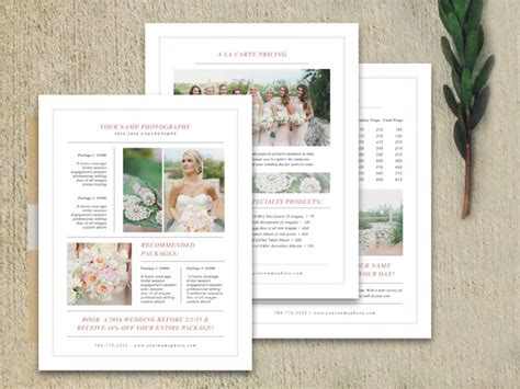 Price List Brochure Template wedding pricing guide set brochure templates on creative