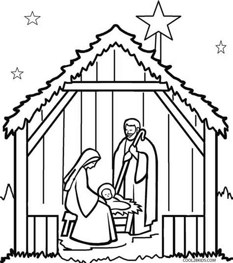 Printable Nativity Scene To Color | printable nativity scene coloring pages for kids cool2bkids