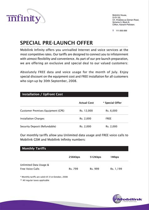 Offer Letter For A Product Or Service Mobilink Infinity Arrives Initial Offering In Karachi