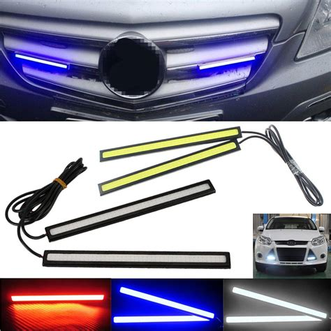 universal led car daytime running daylight drl fog light 2pcs 17cm universal cob led strip car daytime running fog
