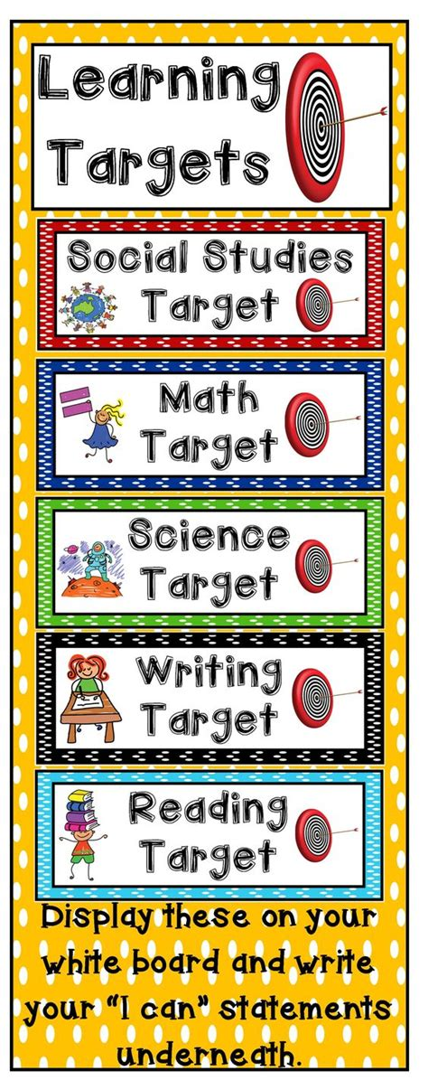printable learning targets learning targets target and learning on pinterest