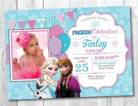 frozen birthday invitation with photo frozen birthday invitation printable with photo frozen