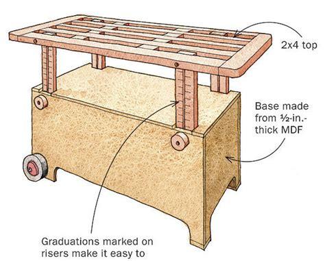 adjustable height worktable  wheels finewoodworking