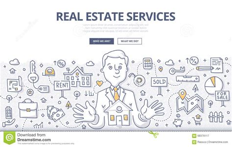 real estate services doodle concept stock vector image