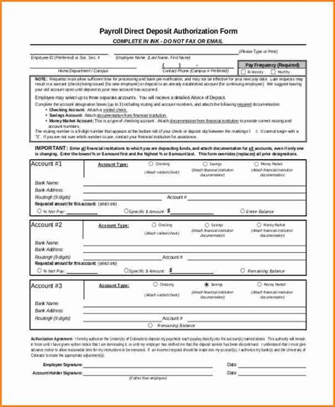 payroll direct deposit form template 9 payroll direct deposit form template simple salary slip
