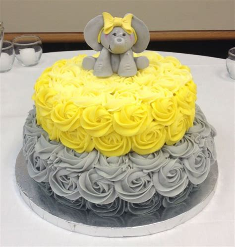 Yellow And Grey Baby Shower Cake by Yellow And Grey Elephant Baby Shower Cake Cakecentral