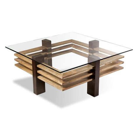 maverick modern solid chunky wood coffee table kathy kuo