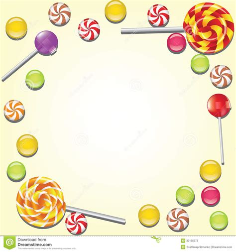 Background With Candies Frame Stock Vector Image 30155573
