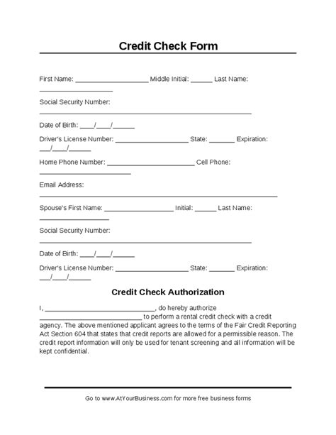 Credit Check Form Template Credit Check Form Hashdoc