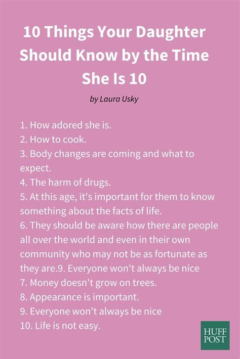 10 Things About Womans You Should by 10 Things Your Should By The Time She Is 10