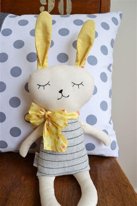 Soft Toys Handmade - yellow and grey bunny softie soft dewberry workshop