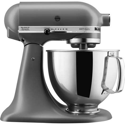 kitchen aid stand mixer kitchenaid artisan series 5 qt tilt back stand mixer in matte gray ksm150psfg the home depot