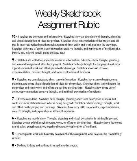 sketchbook rubric best 25 assignments ideas on btec courses