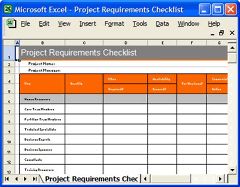 Project Checklist Template Excel by Project Plan Template Ms Word Excel Forms