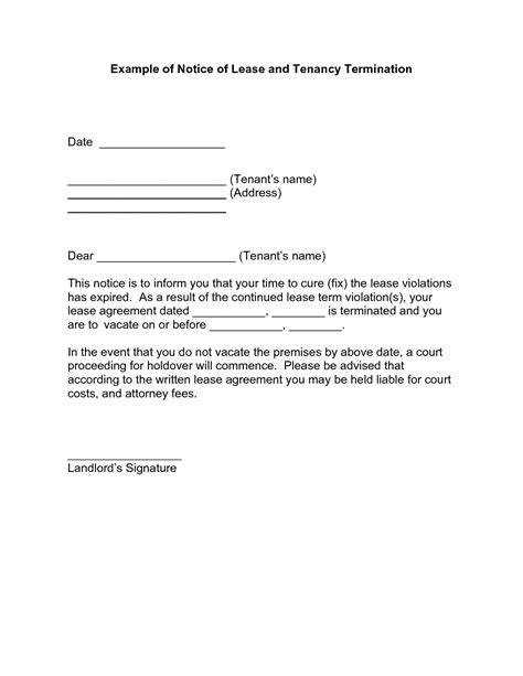 Rent Termination Letter To Tenant Notice Of Lease Termination Letter From Landlord To Tenant Sle Best Business Template