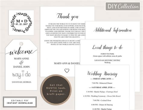 printable wedding welcome bag note welcome letter