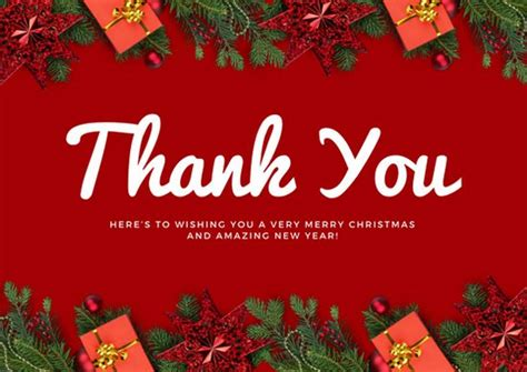 Do You Send Thank You Cards For Christmas Gifts - red christmas decor christmas thank you card templates by canva
