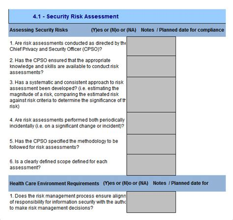 10 Sle Security Risk Assessment Templates To Download Sle Templates Information Security In Project Management Template