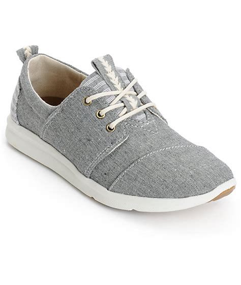 toms grey chambray blocked womens shoes zumiez