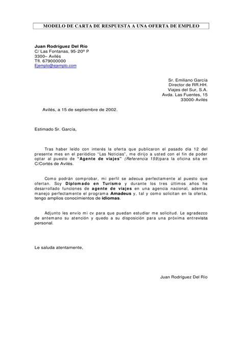 carta de oferta de nuestros productos carta de respuesta a oferta