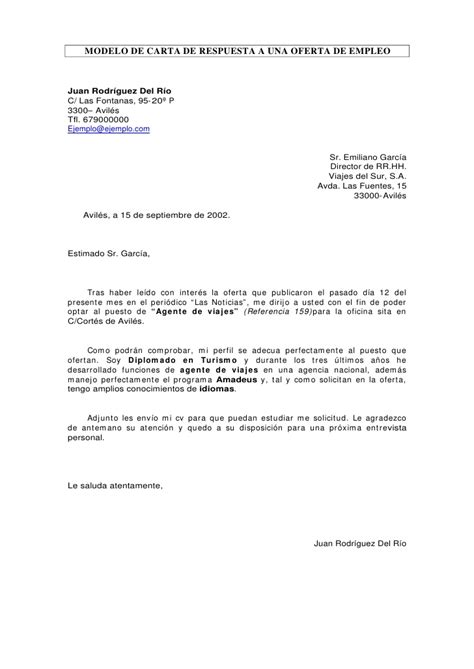carta de respuesta a oferta