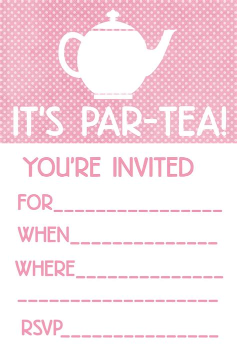 Party Invite Template Party Invitations Templates Tea Invitation Template Word