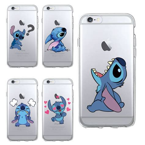 Jelly Soft Shell Doraemon Sinchan Stitch Iphone 5 6 stitch emoji soft tpu clear phone fundas coque for iphone 6 6s 6plus 7