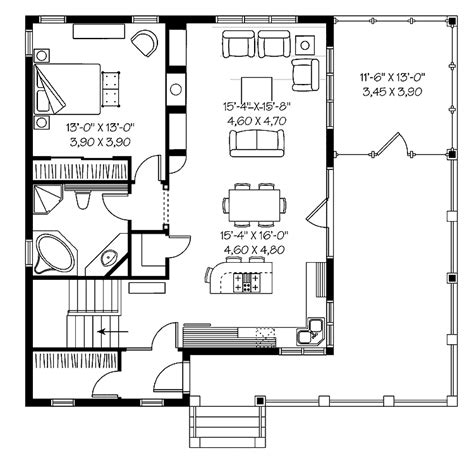 floor plans 1 bedroom one bedroom bungalow hwbdo66485 bungalow house plan