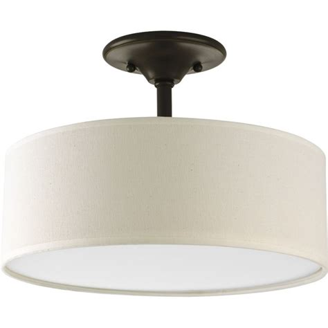 white drum ceiling light progress lighting p3939 09 brushed nickel inspire 13 quot two