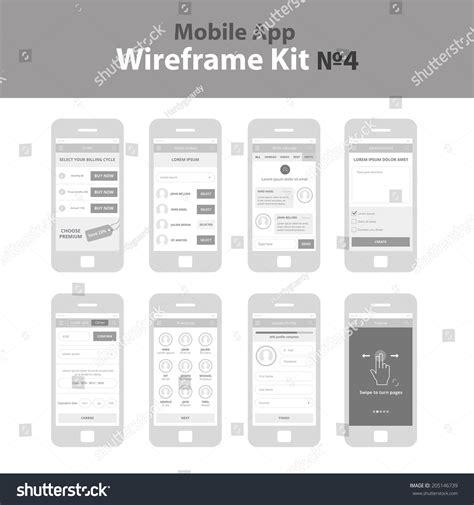Mobile App Wireframe Ui Kit 4 Stock Vector 205146739 Shutterstock Mobile App Wireframe Template