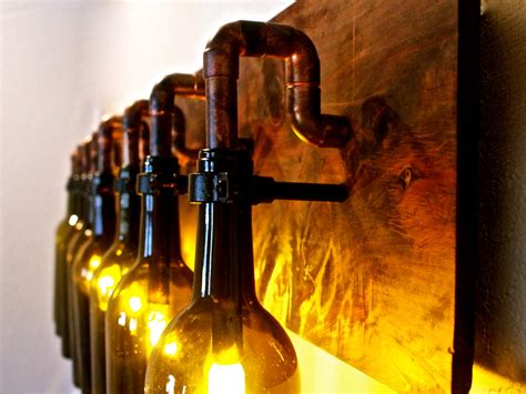 lights made from wine bottles wine bottle light l industrial vanity sconce by bsquaredinc