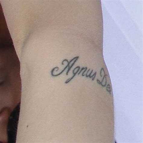 latin tattoo on arm kerli quot agnus dei quot latin writing elbow tattoo steal her style