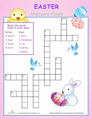 easy crossword puzzles worksheets easy easter crossword worksheet education com