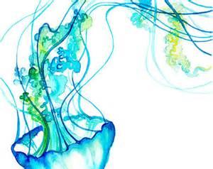 Jellyfish watercolor etsy