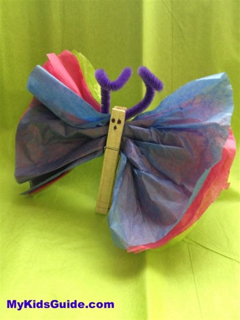 Tissue Paper Butterfly Craft - five easy easter crafts for the whole family pretty