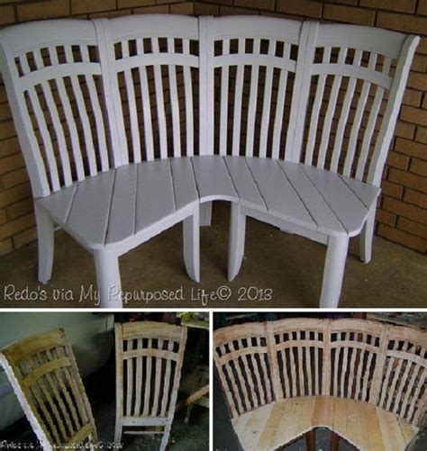 how to make a corner bench in the kitchen how to make a corner bench using 4 old chairs home